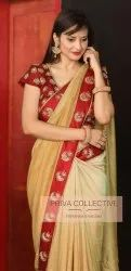 Silk Saree With Embroidery Blouse