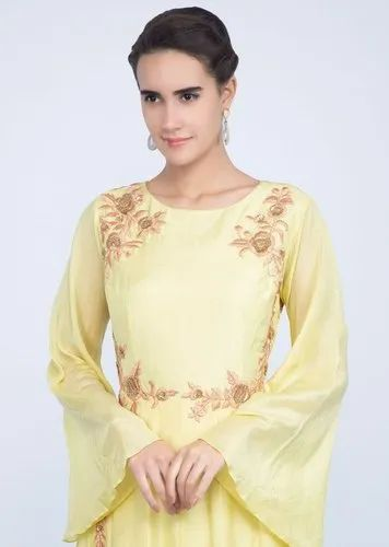 Lemon Color Ladies Silk Suits