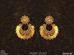 Laxmi Ji Goddess Temple Coin Earrings