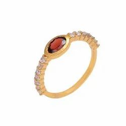 Gold Plated Silver Ring studded with Garnet