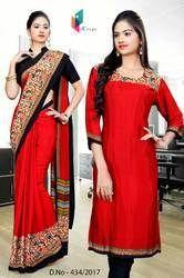 Red and Black Italian Crepe Uniform Saree Kurti Combo