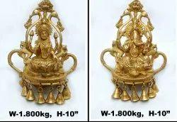 Gold Aligarh Brass Laxmi Ganesh Statue