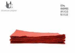 Handmade Paper, Fine-Cut, A4 Size - Dull Red
