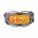 Gemco Designs Jade Stone Carving Bangle Diamond Studded Gold Jewelry