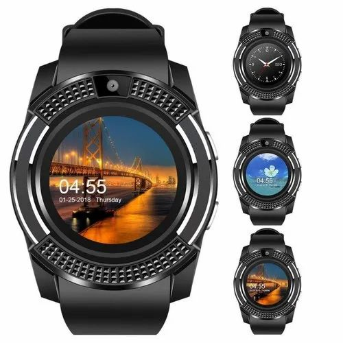 Bluetooth V8 Black Smartwatch Compatible With Mobile