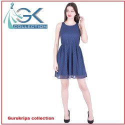 Blue Cotton Embroidery Ladies Top