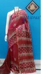 Designer Block Printed Cotton Silk Saree