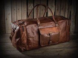 Leather Duffel Bag, Travel Bag, Luggage, Holdall, Carry On, Weekender, Overnight Bag,