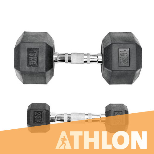 Athlon Hex Rubber Dumbbell, weight: 2.5 kg to 40 kg