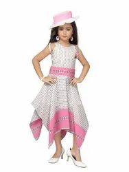 Polyester Sleeveless Adiva Girls Party Wear Polka Dot Dress With Cap For Kid, Size: 22 To 32, Packaging Type: Normal