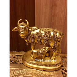 Brass Cow Calf Statue By Swethamber Arts