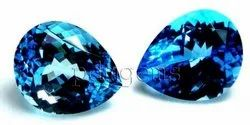 Swiss Blue Topaz Faceted Pear Gemstone