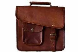Brown Solid Leather Laptop Messenger Bag, IMB338
