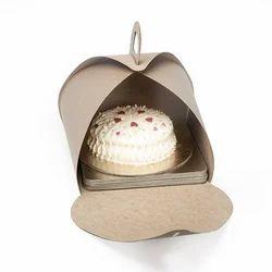 27K Half Kg Kraft Curved Cake Box with Handle