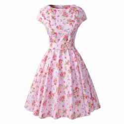Medium And Large Ladies Floral Print Short Dress