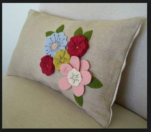 Multicolor Felt Flower Pillow Cover