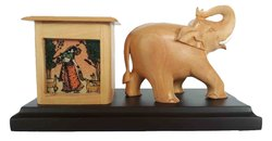 Wooden Elephant Pen Stand