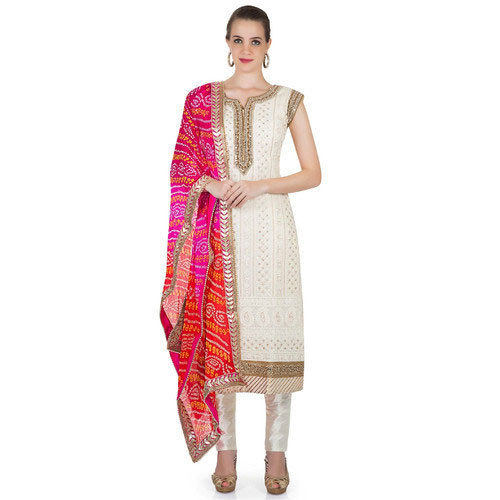 53a81ab603 White And Golden Cotton Ladies Bandhani Suit, Rs 290 /piece   ID ...