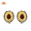 Red Onyx Gemstone Oval Shape Brass Fashion Stud Earrings Jewelry