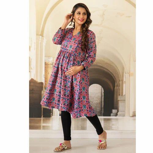 aa1ea97ee0db7 Blush Pink Concealed Zip Nursing Kurta at Rs 2499 /piece | Mehrauli ...
