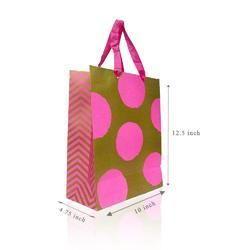 Fancy Gift Printed Paper Bag Golden Pink DOT Medium Carry Bag Pack of 5