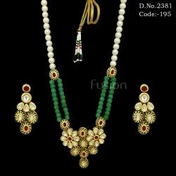 Traditional Beaded Kundan Pendant Set