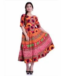 3/4th Sleeves Jaipuri Printed Frock