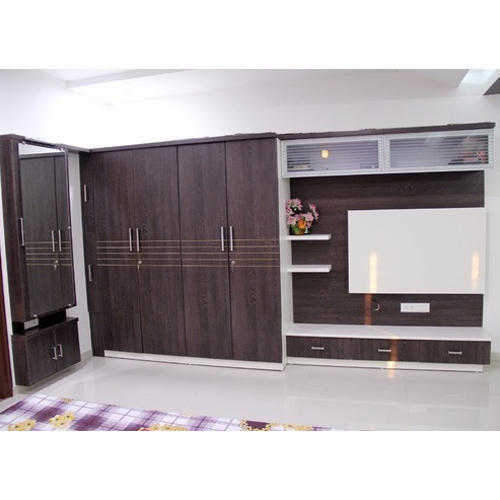 Brown Modern Wardrobe Cum Tv Unit Rs 15000 Piece Smk Interior