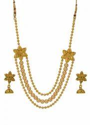 Antique alloy Traditional Rani Haar Multi Strand Pearl Necklace Jhumki set