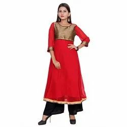 Red and Golden Georgette Kurti