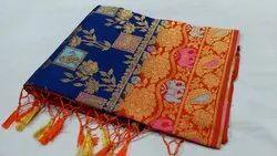 Weaving Design Zari Semi Kanchipuram Silk Saree, 6.3 m (With Blouse Piece)