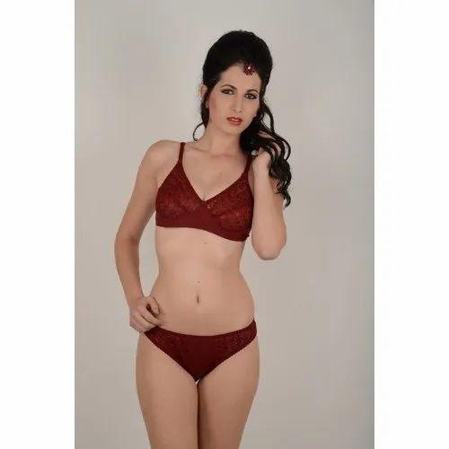 Ladies Softskin Maroon Garima Bra And Panty Set 8ae379daa