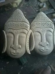 Handmade Antique Wood Carved Wooden Budha face, for Interior Decor