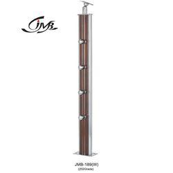 Wooden Staircase Steel Pillar