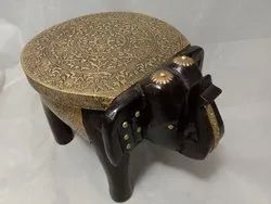 Pinnacle Wooden Elephant Stool with Brass Fittings