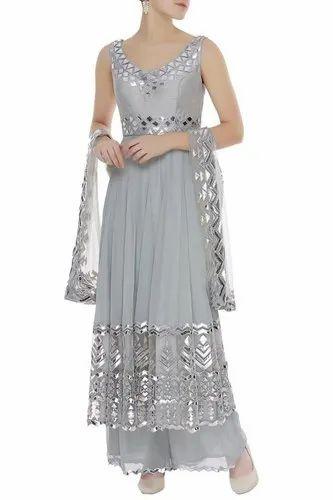 1e85f541d3 Grey Gotta Patti Short Anarkali Hand- Crafted Punjabi Suit, गोटा ...