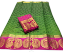 Green Printed Silk Saree Color