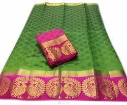 Green Printed Silk Saree Color
