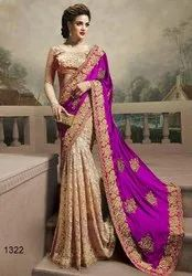 Zari Party Wear Georgette Embroidery work sarees, 6.3 m (with blouse piece)