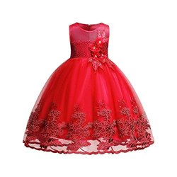 Satin and Net Partywear Red Flower Girl Gown