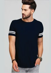 Navy Blue With White Strip Sleeve T-Shirt