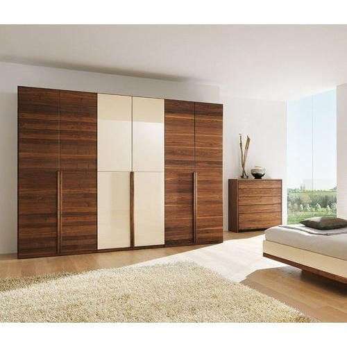 Wood White and Brown 6 Door Wooden Almirah, For Home,Office