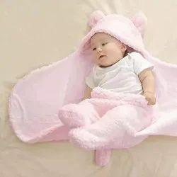 Plain super soft Little Cubs Light Pink Baby Blanket Cum Sleeping Bag, 0-6 Month, Size: 75 X 75 Cms