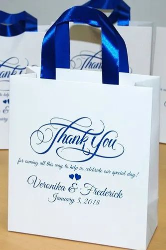 White Printed Paper Wedding Gift Bag, For Gifting, Capacity: 1.5kg