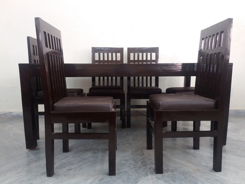 6 Chair Wooden Top Dining Table