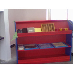 3 Shelves Rectangular Red Display Rack