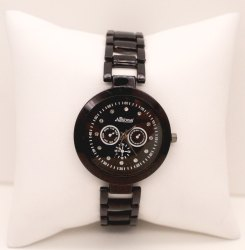 Brown Belt Black Daily Ladies Wrist Watch