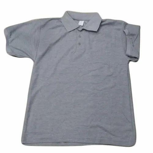 Half Sleeve Casual Wear Grey Polo Neck T-Shirt