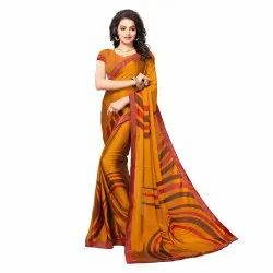 Yellow Colored Chiffon and Georgette Casual Saree