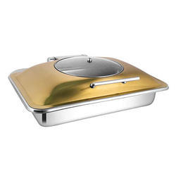 Rectangular Rose Gold Glass Lid Chafer